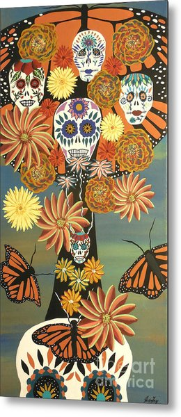The Monarch's Tree Of Life And The Dead - Day Of The Dead Metal Print