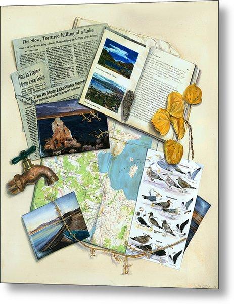 The Mono Lake Story Trompe L'oeil Metal Print