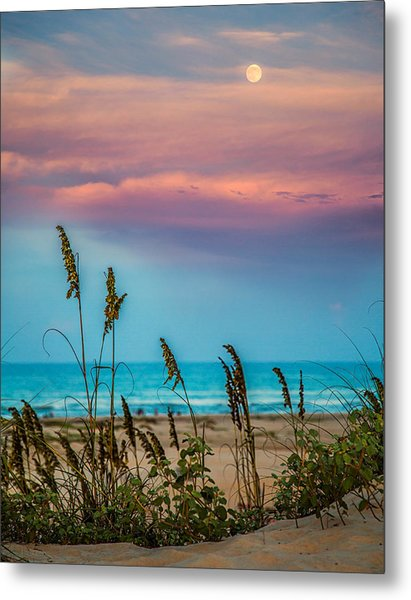 The Moon And The Sunset At South Padre Island 11 By 14 Crop Metal Print
