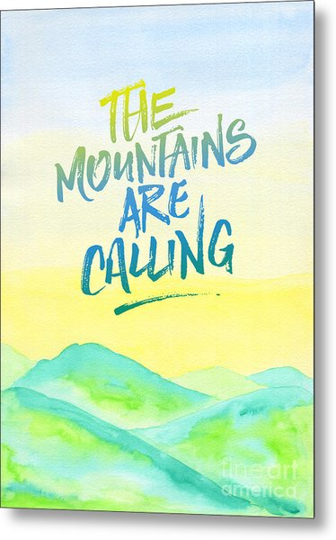 The Mountains Are Calling Yellow Blue Sky Watercolor Painting Metal Print