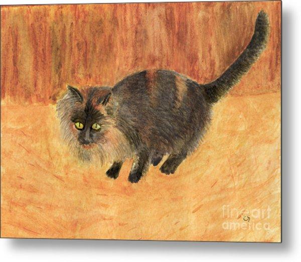 The Mouser, Barn Cat Watercolor Metal Print