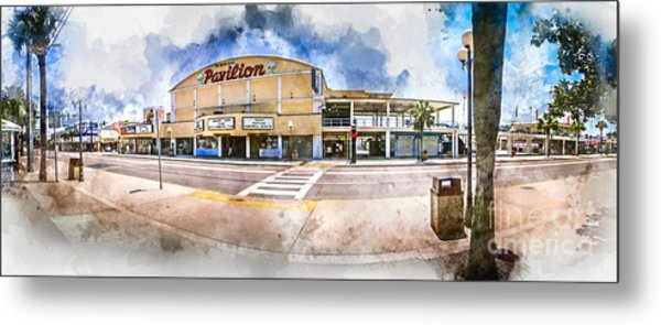 The Myrtle Beach Pavilion - Watercolor Metal Print