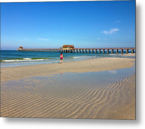 The Naples Pier At Low Tide Metal Print