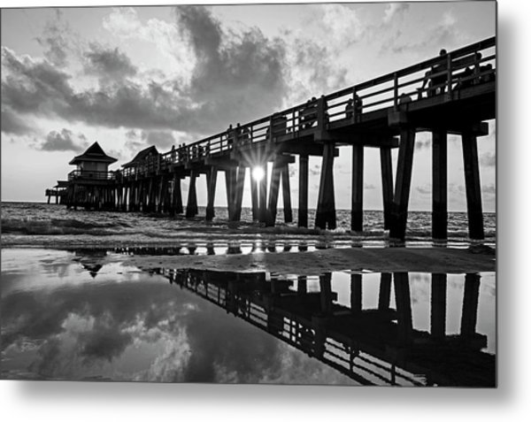 Naples Pier At Sunset Naples Florida Black And White Metal Print