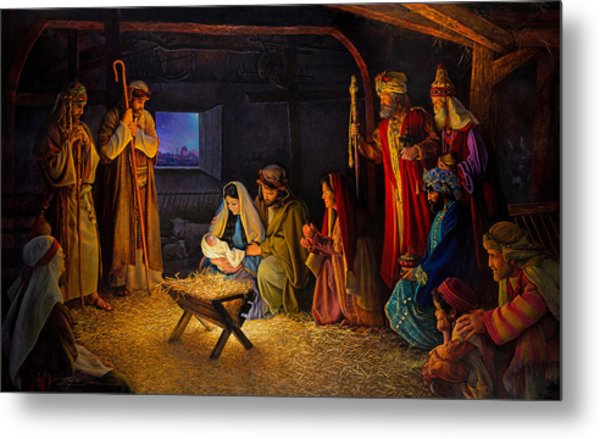 Metal Print featuring the painting The Nativity by Greg Olsen