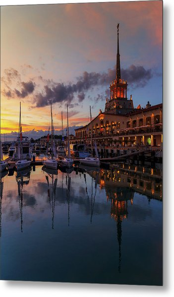 the nautical station and the yacht on the main sea channel of the Sochi seaport Metal Print