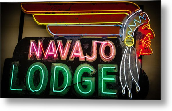 The Navajo Lodge Sign In Prescott Arizona Metal Print