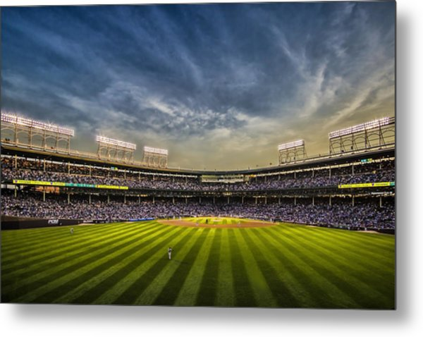 The New Wrigley Field With Pretty Sunset Sky Metal Print