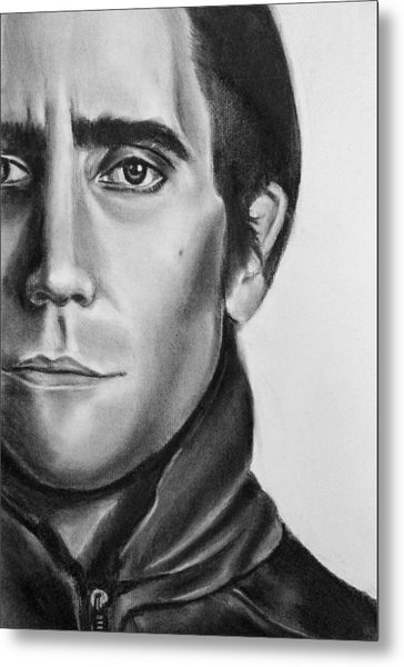 Nightcrawler Movie Art Drawing - Jake Gaalynhaal Charcoal Pencil Drawing - Ai P. Nilson Metal Print