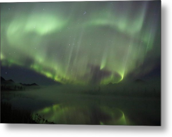 The Northern Lights Over The Denali Highway's Twin Lakes Metal Print