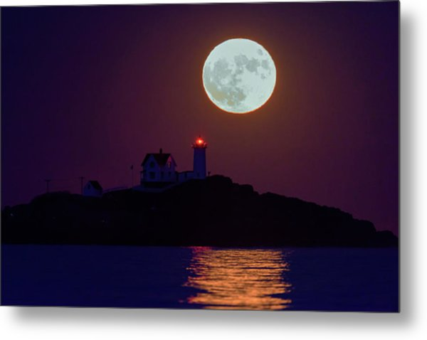 The Nubble And The Full Moon Metal Print