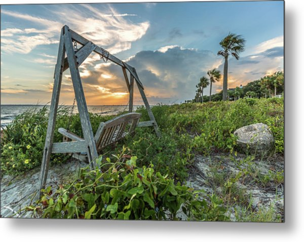 The Old Beach Swing -  Sullivan's Island, Sc Metal Print