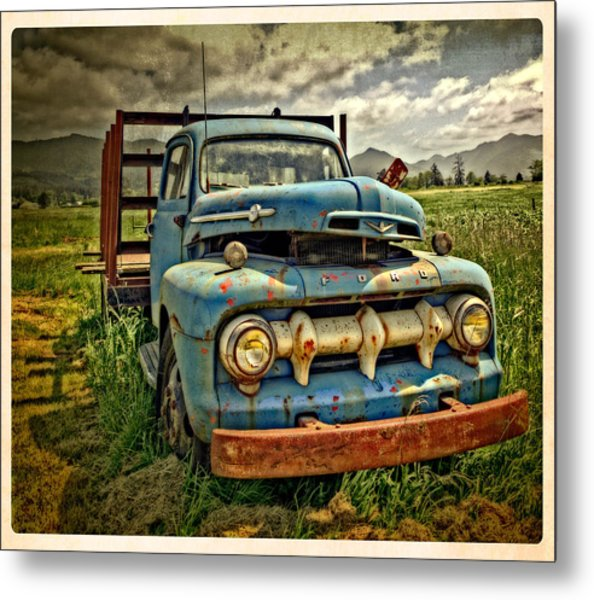 The Blue Classic Ford Truck Metal Print