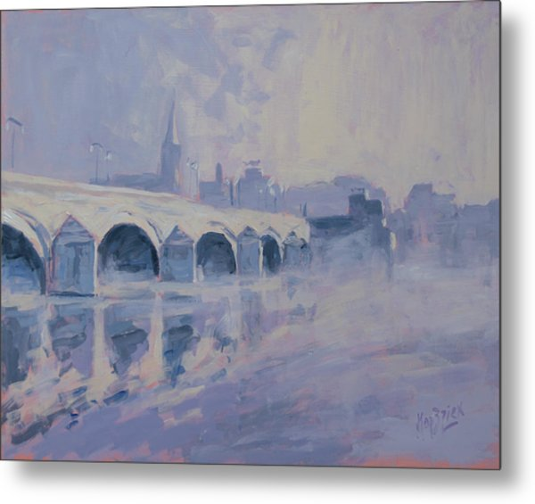 The Old Bridge In Morning Fog Maastricht Metal Print