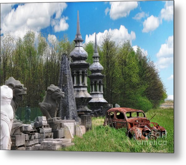 The Old Car At The Dragon Gate Metal Print by The Hybryds