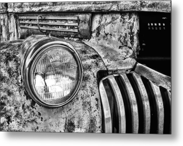 The Old Chevy Truck Black And White Metal Print by JC Findley