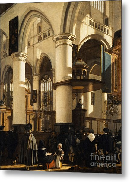 The Old Church, Delft, With Churchgoers Listening To A Sermon Metal Print