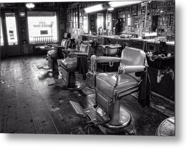 The Old City Barber Shop In Black And White Metal Print