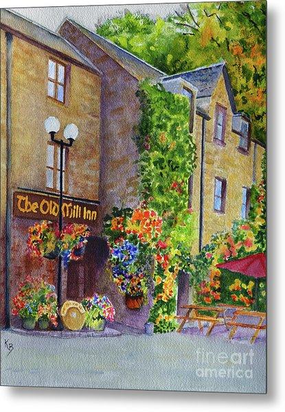 Metal Print featuring the painting The Old Mill Inn by Karen Fleschler