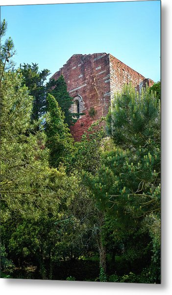 The Old Monastery Of Escornalbou Surrounded By Trees In Spain Metal Print
