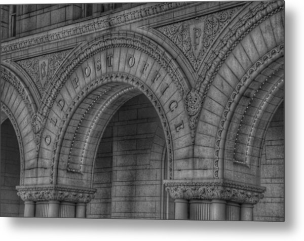 Metal Print featuring the photograph The Old Post Office Sign Now Trump International Hotel In Washington D.c.  - Black And White by Marianna Mills