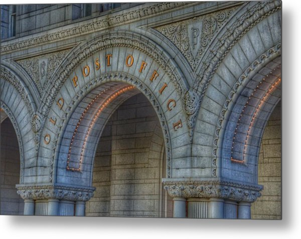 Metal Print featuring the photograph The Old Post Office Sign Now Trump International Hotel In Washington D.c.  by Marianna Mills