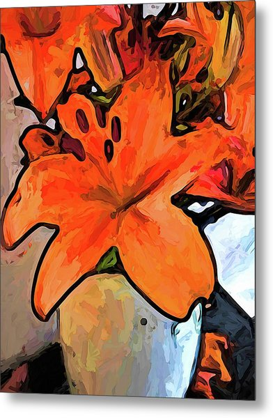 The Orange Lilies In The Mother Of Pearl Vase Metal Print