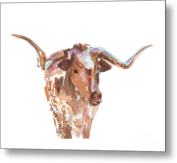 The Original Longhorn Standing Earth Quack Watercolor Painting By Kmcelwaine Metal Print