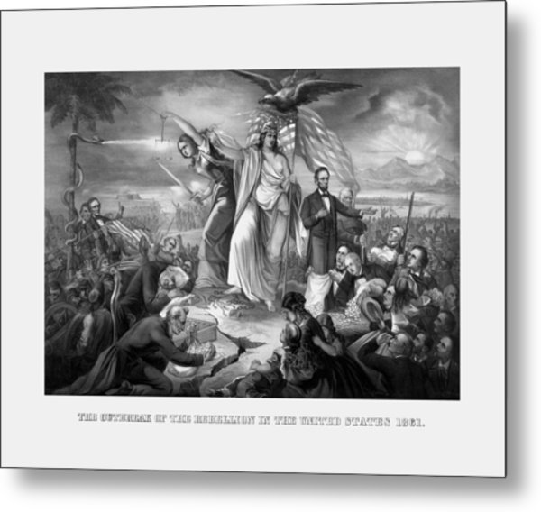 The Outbreak Of The Rebellion In The United States Metal Print