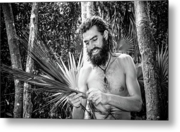 The Palm Frond Weaver Metal Print
