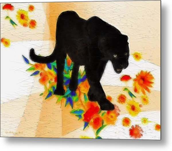 The Panther In The Flowerbed Metal Print