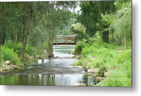 The Pasture's Bridge Metal Print