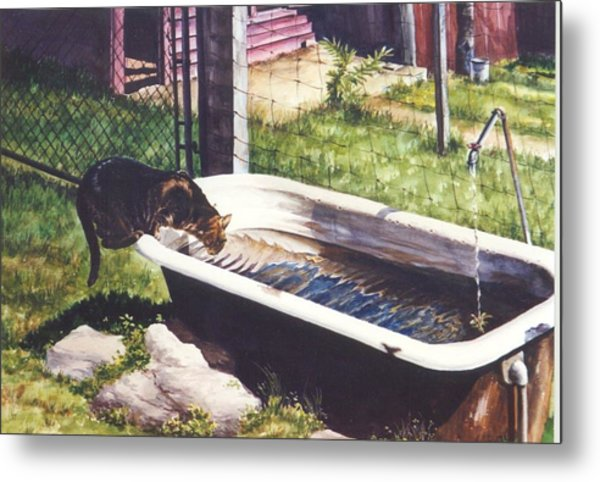 The Paws That Refreshes Metal Print by Marion  Hylton