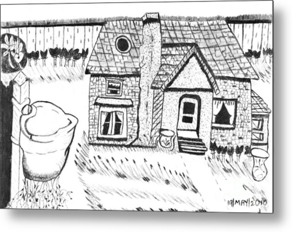 The Peaceful Cottage Metal Print