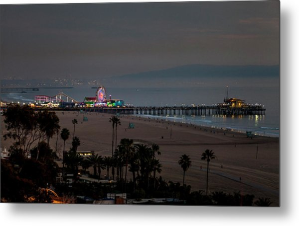 The Pier After Dark Metal Print