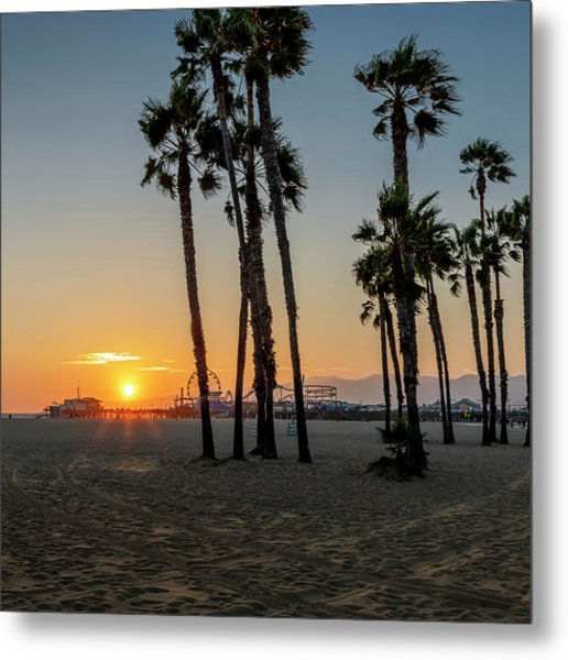 The Pier At Sunset - Square Metal Print
