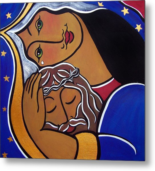 Metal Print featuring the painting The Pieta by Jan Oliver-Schultz