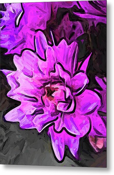 The Pink And Lavender Flowers On The Grey Surface Metal Print