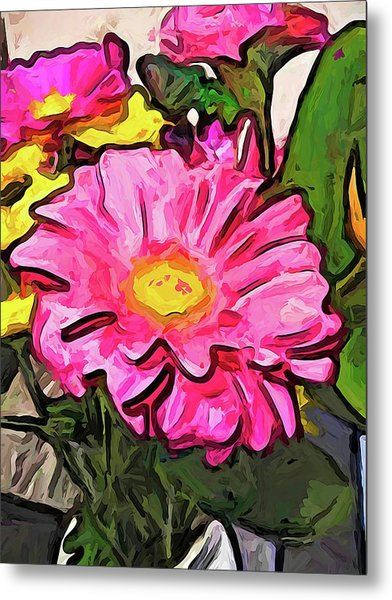The Pink And Yellow Flowers With The Big Green Leaves Metal Print