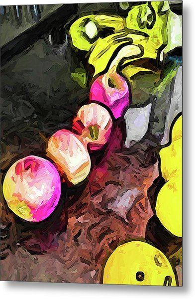 The Pink Apples In A Curve With The Yellow Lemons Metal Print