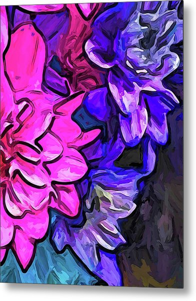 The Pink Petals With The Purple And Blue Flowers Metal Print