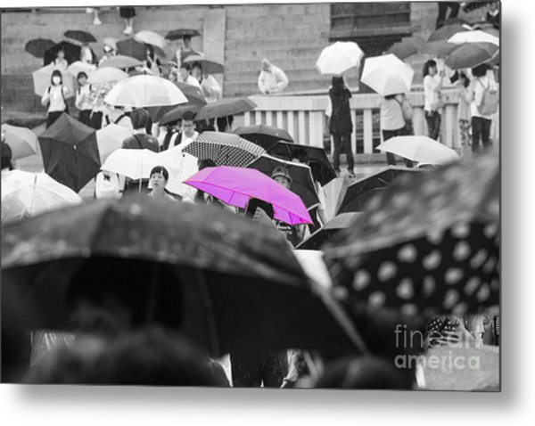The Pink Umbrella Metal Print