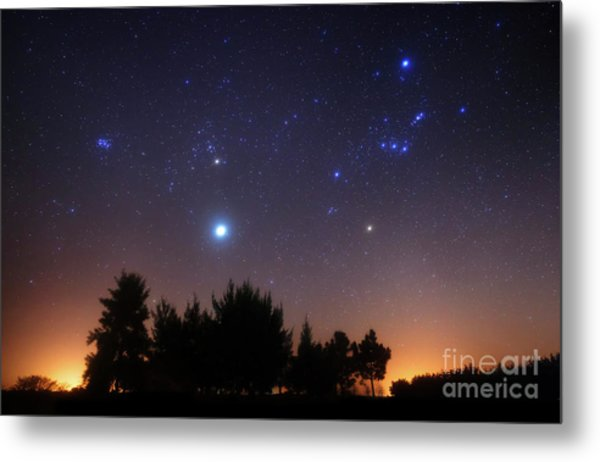 The Pleiades, Taurus And Orion Metal Print