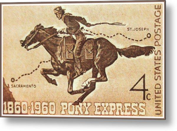 The Pony Express Centennial Stamp Metal Print