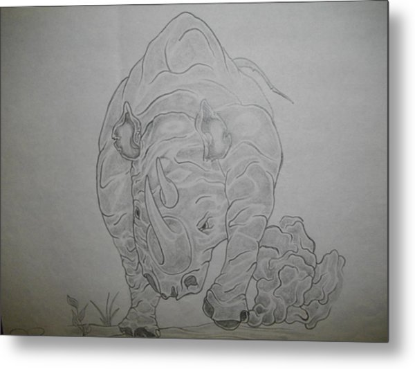 The Raging Rhino Metal Print by Nicole Lee