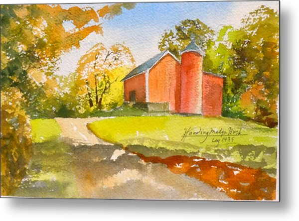 The Red Barn Metal Print by Harding Bush