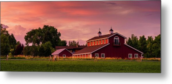 Metal Print featuring the photograph The Red Barn - Panoramic by TL Mair