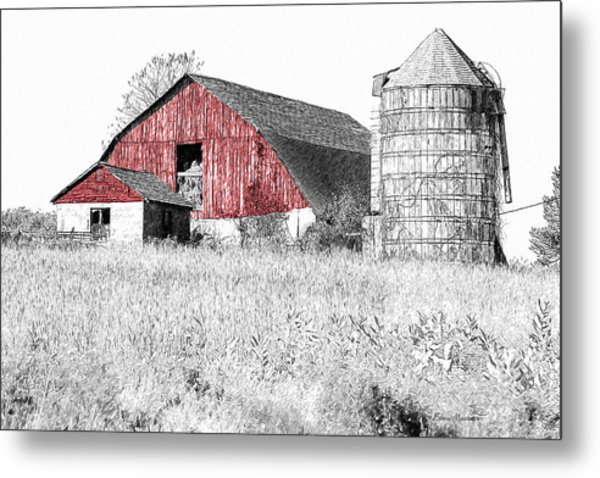 The Red Barn - Sketch 0004 Metal Print