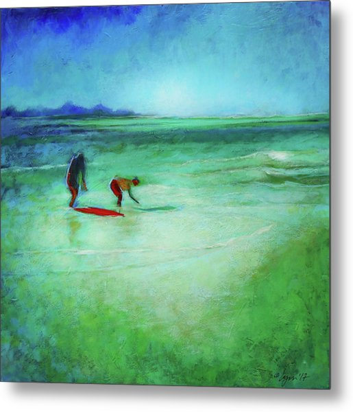 Metal Print featuring the painting The Red Boogey Board by Angela Treat Lyon