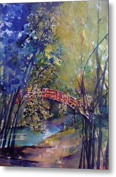 The Red Bridge Metal Print by Robin Miller-Bookhout